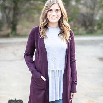 Dark Plum Long Sweater Cardigan