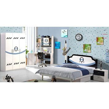 5 Pcs Kids Loft Bed Set With Storage Table And Chair Wood Kindergarten Furniture -White and Blue Theme