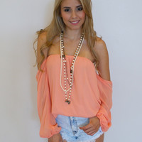 Off The Shoulder Top - Peach