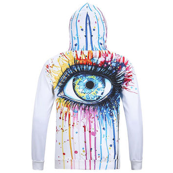 Autumn Winter Fashion Men&'s Hoodies With Cap Print Crying Eyes Ocean Tears Casual Hoody lovely 3d H