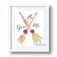 You and me Valentine printable Romantic wall art Couple gift Purple green coral Watercolor feather arrow Floral arrow print Arrow printable