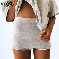 Aproms Summer Solid Color Knitted High Waist Shorts Women 2017 Boho Cools Girls Streetwear Beach Elastic Shorts Female Bottoms