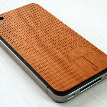 Rainy Day Etching on Real Wood iPhone Skin by grandmaswoodentooth