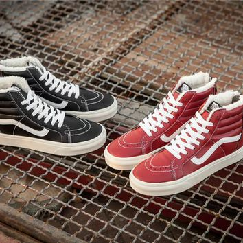 Vans 2017 Leather Plus Velvet SK8-H Skateboarding Shoes 35-44