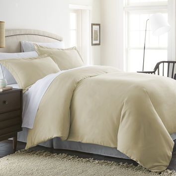 Home Collection™ Luxury Double Brushed 3 Piece Duvet Set in Full/Queen Cream