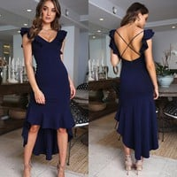 Women's Bandage Bodycon Backless Evening Party Gown Cocktail Long Dress Sundress