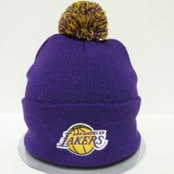 Adidas NBA LA Lakers Logo Team Purple Cuffed Retro Knit Beanie Cap with Pom