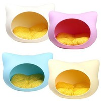 PET Dog Cat Puppy Bed Kitty Shape House Kennel Potable Pet House Supplies Ivory