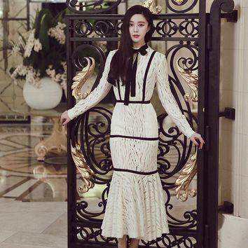 Ecombird 2017 new Spring Summer Sexy Mermaid Dress Women's Long Sleeves stand collar black bow white Lace Party clubwear Dresses