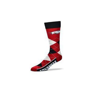 NCAA Arkansas Razorbacks Argyle Unisex Crew Cut Socks - One Size Fits Most