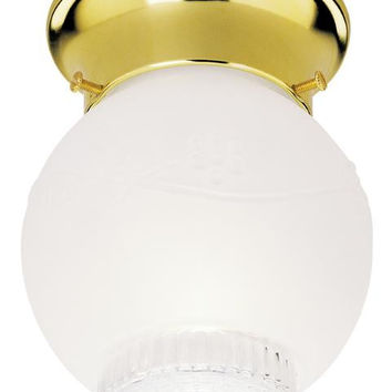 One-Light Indoor Flush-Mount Ceiling Fixture, Polished Brass Finish with Frosted and Clear Glass