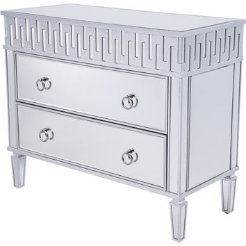"Contempo 40""x18""x34"" Mirrored 2-Drawer Cabinet, Silver Leaf"