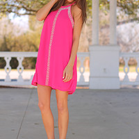 Party In Pearls Dress, Fuchsia
