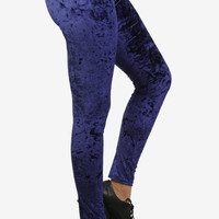 Velvet Crushed Leggings - Navy