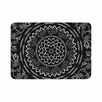 "Famenxt ""Botanical Folk Vibes Mandala"" Black White Illustration Memory Foam Bath Mat"