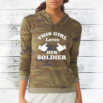 Army Wife - Army Girlfriend - Army Wife Clothing - Army Girlfriend Clothing -  Loves Her Soldier - Love My Soldier - Womens Camo Shirt