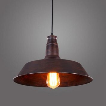 LukLoy Pendant Light Lamp Shade, Metal Industrial Lighting Retro for Kitchen Barn Dinning Room Decor, E27 Rust Iron Finish