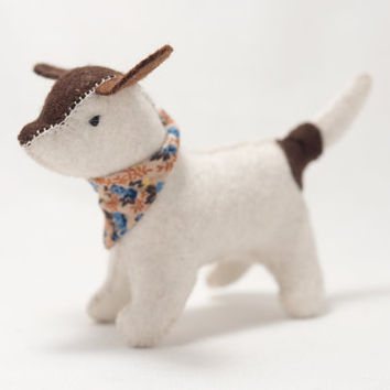 Waldorf toy - felt dog - Waldorf dog - spotted dog - stuffed dog - toy dog