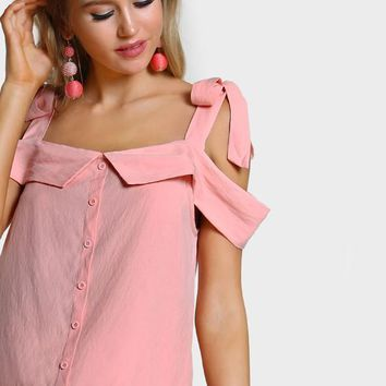 Pink Cold Shoulder Top Women Cute Self Bow Tie Tops Sexy Cut Casual Tunic Blouse