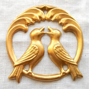 Raw brass stamping, two perched love birds, charm, pendant, connector,  37mm in diameter, made in the USA C4801