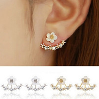 Whimsical Leaf Crystal Ear Jacket Double Sided Swing Stud Earrings +Gift Box
