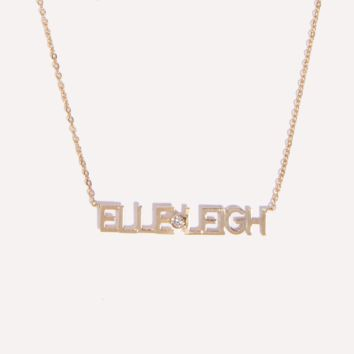 Custom Initial Diamond Nameplate Necklace