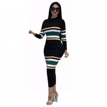 Ivy knitted striped dress