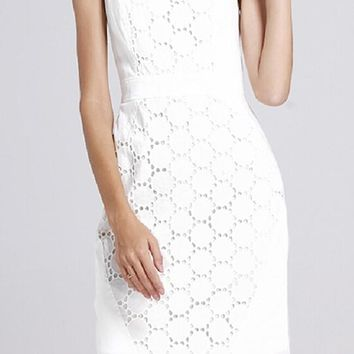 White Floral Hip Short Package Crochet Sleeveless Cute Casual Homecoming Lace Summer Dress