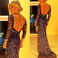 Women's Sequins Formal Backless Long Dress
