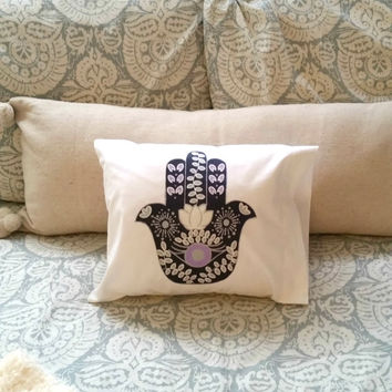 "Bohemian hamsa hand 12"" x 12"" throw pillow for bedroom or home decor"