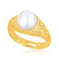Italian Design 14K Yellow Gold Crochet Ring with Cultured Pearl