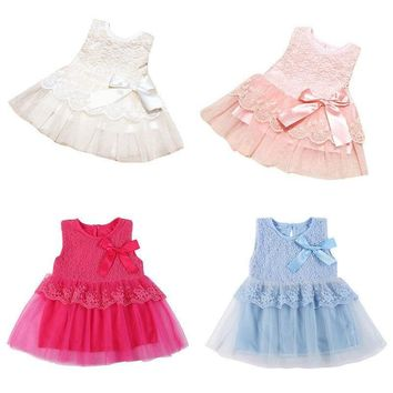 Newborn Toddler Baby Kid Girl Flower Princess Pageant Party Tutu Tulle Bow Dress