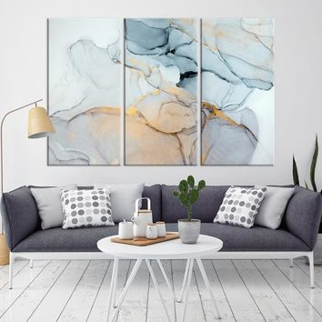 51831 - Light Blue Abstract Painting Canvas Print | Extra Large Marble Canvas Print for Office Decor and Home Decor