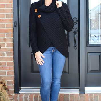 Waffle Knit Buttoned Neck Sweater
