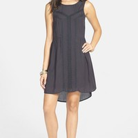 Junior Women's Volcom 'Black Sand' Lace Inset Tank Dress