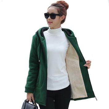 2016 New Women Army Green/ Black/ Wine Jacket Coats Thick Parkas Plus Size Wool Liner Hooded Outwear Slim Warm Jacket Coat A921