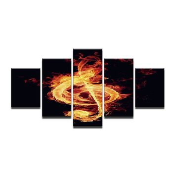 5 Pieces Panel Flame Music Musical Note Modern Wall Art Picture HD Canvas Print
