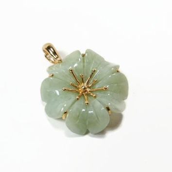 14k Gold Light Green Celadon Jade Flower Necklace Enhancer Jade Pendant Omega Slide