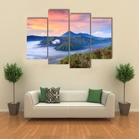 Bromo Vocalno At Sunrise Multi Panel Canvas Wall Art