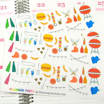 Summer Nights BBQ Sampler Planner Sticker for Erin Condren Life Planner (ECLP) Reminder Sticker