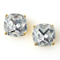 Small Square Stud Earrings, Clear - kate spade new york