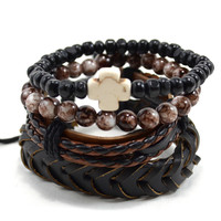 4 Pack Leather and Glass in Black/Brown