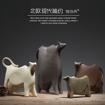 dairy cow Ceramic creative milk cow home decor crafts room decoration handicraft Cattle porcelain animal figurines decorations