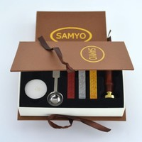 Samyo Stamp Seal Sealing Wax Vintage Classic Old-Fashioned Antique Alphabet Initial Letter Set Brass Color Creative Romantic Stamp Maker (K)
