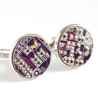 Circuit board Cuff links - Geek cufflinks - round - palladium plated