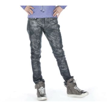 Fun&Fun - Girls Jeans With Faux Leather Finish, Black - 10Y