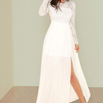 Lace Top Split Side Pleated Prom Dress