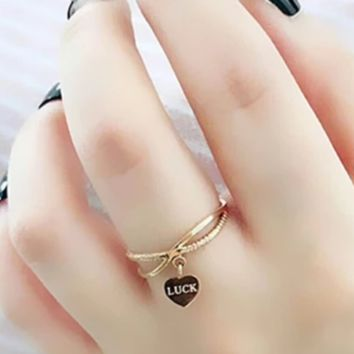 New Hollow Letter Love Pendant luck letter Ring Accessories Rose gold