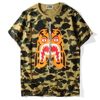 BAPE SHARK Short sleeve camouflage T-shirt Casual tee top