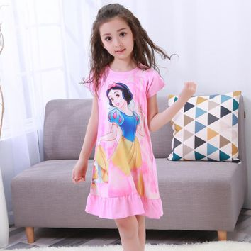 Girl Home Clothes 3-12Y New 2017 Summer Style Girl Nightgowns Dress Children Cloth Girls Sleepwear Kids Girls Princess Young